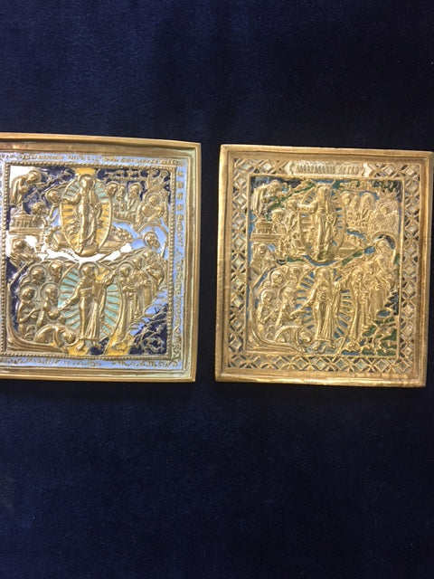 Bronze enameled resurrection of the Lord icon
