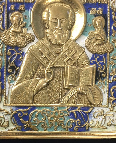 18th or 19th Century metal enameled icon of St. Nicholas