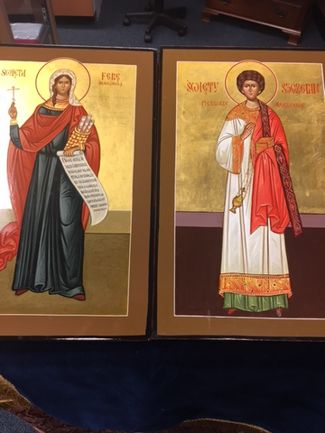 Painted icons of Sts. Deaconess Phoebe and Protomartyr Deacon Stephen