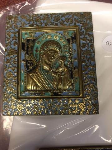 19th Century enameled metal Virgin of Kazan icon