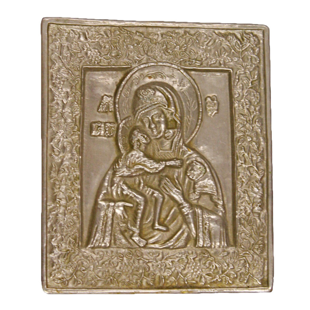 Front view of Mother of God metal icon
