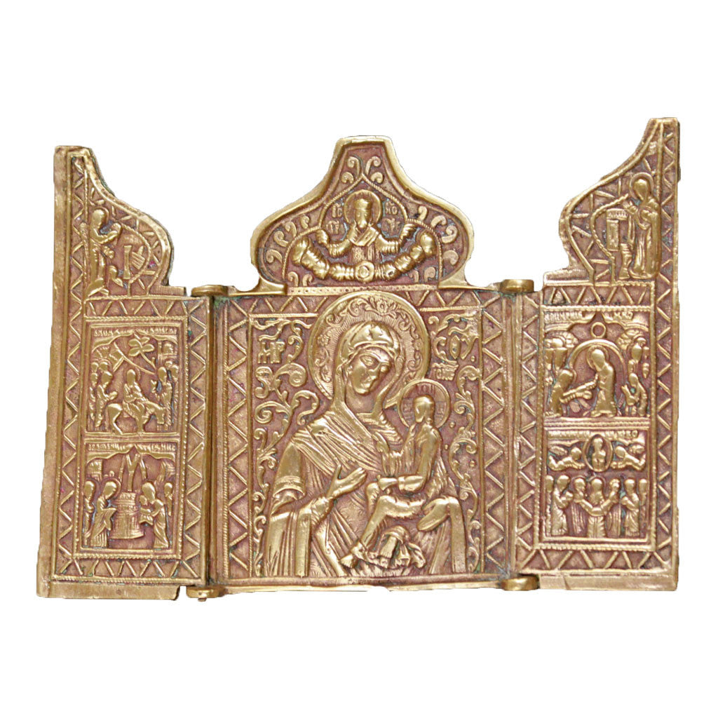 Front view of Mother of God Triptych metal icon