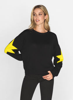 CHRLDR-SLEEVE STARS - Dropped Shoulder Sweater