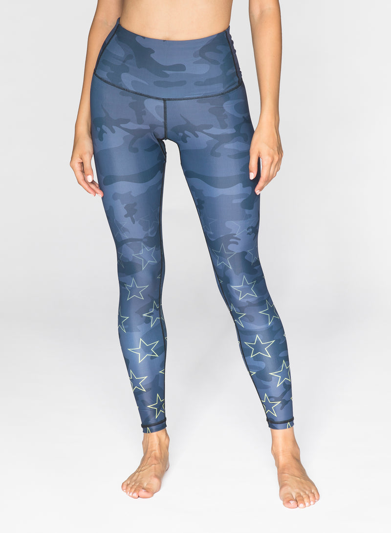 CHRLDR-BLACK CAMO STARS - High Waisted Leggings