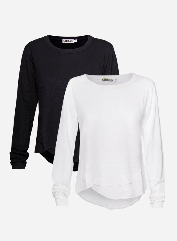 2-PACK of AVA Mock Layer Long Sleeve T-Shirt