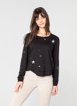 CHRLDR-ALL-OVER STARS - Mock Layer Long Sleeve T-Shirt