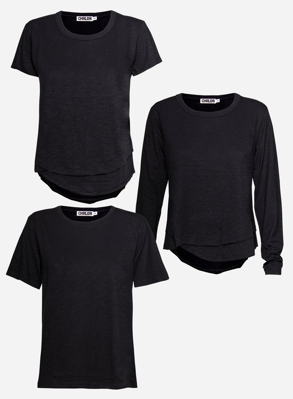 3-PACK BLACK Slub T-Shirts