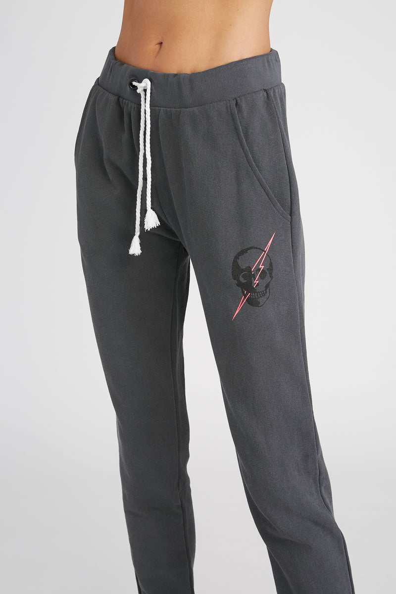 CHRLDR-Lightning Skull - Flat Pocket Sweatpants