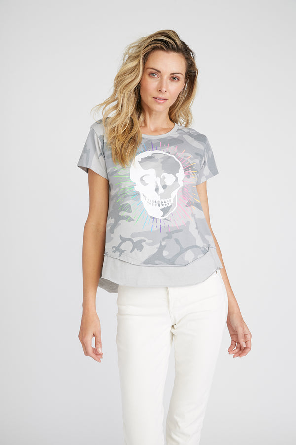 CHRLDR-Radiant Skull - Mock Layer T-Shirt