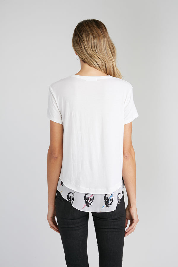 CHRLDR-All-Over Lightning Skulls - Mock Layer T-Shirt