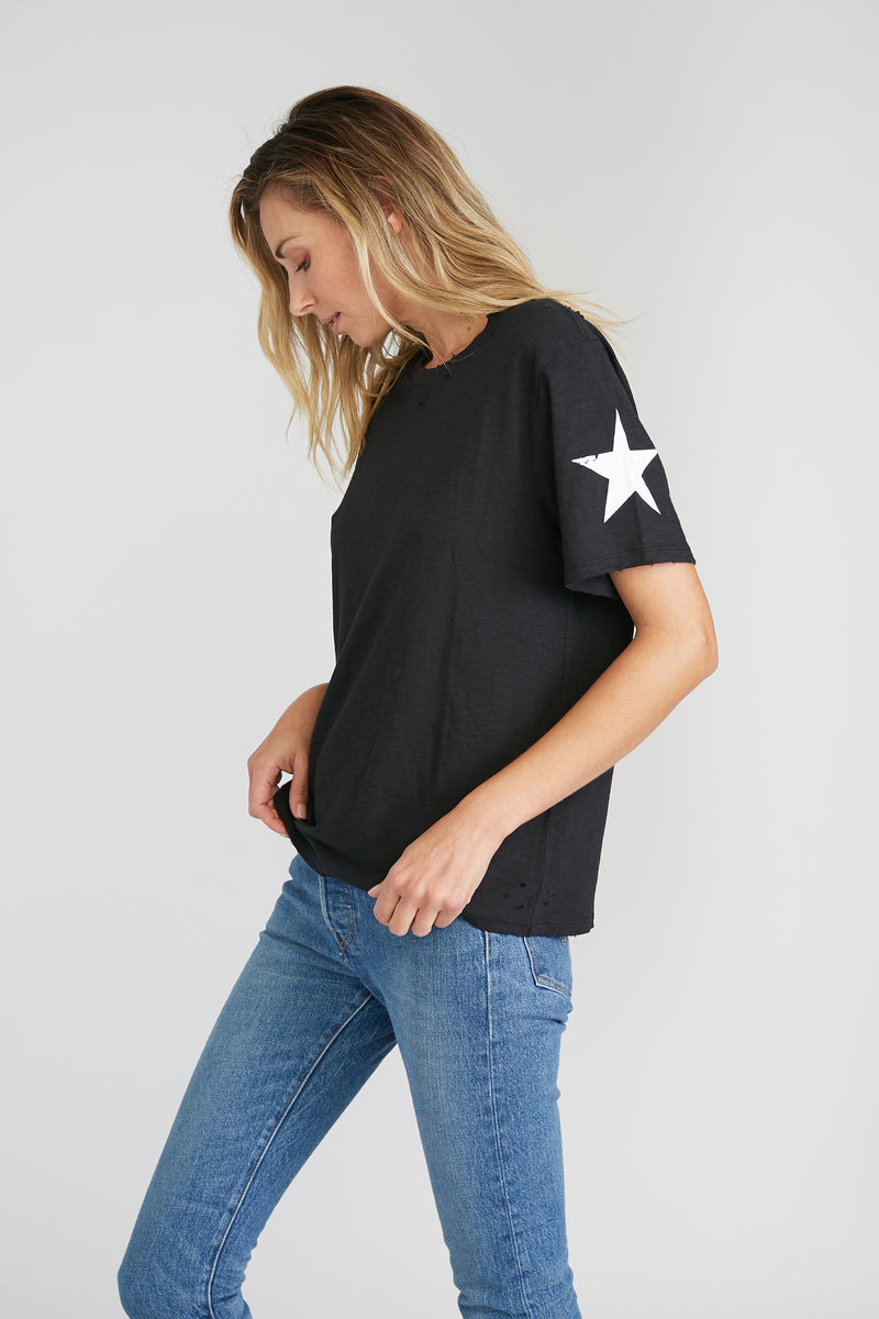 CHRLDR-SLEEVE STARS — Wide T-Shirt