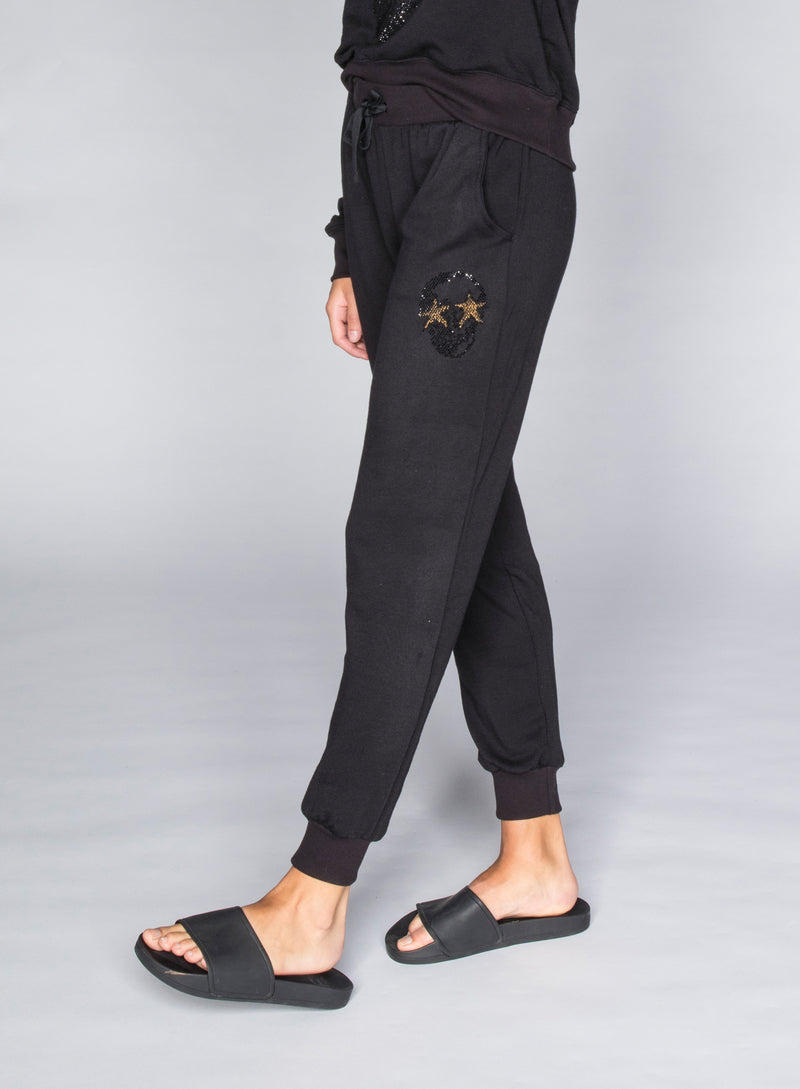 CHRLDR-STUDDED SKULL STARS - Flat Pocket Sweatpants