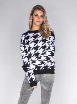CHRLDR-HOUNDSTOOTH - Dropped Shoulder Sweater