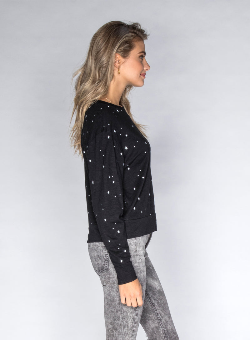 CHRLDR-ALL-OVER STARS - Wide Long Sleeve T-Shirt