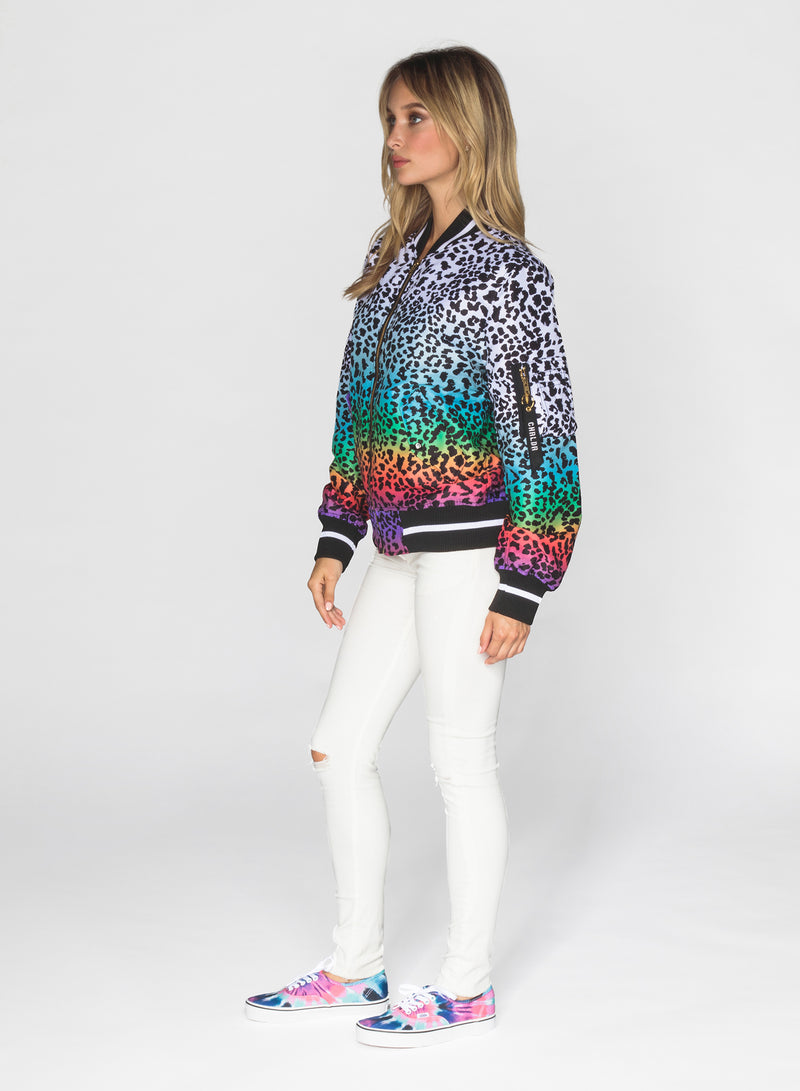 CHRLDR-RAINBOW LEOPARD - Flight Jacket