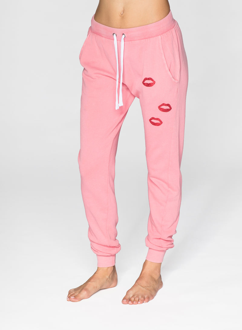 CHRLDR-GLITTER LIPS - Flat Pocket Sweatpants