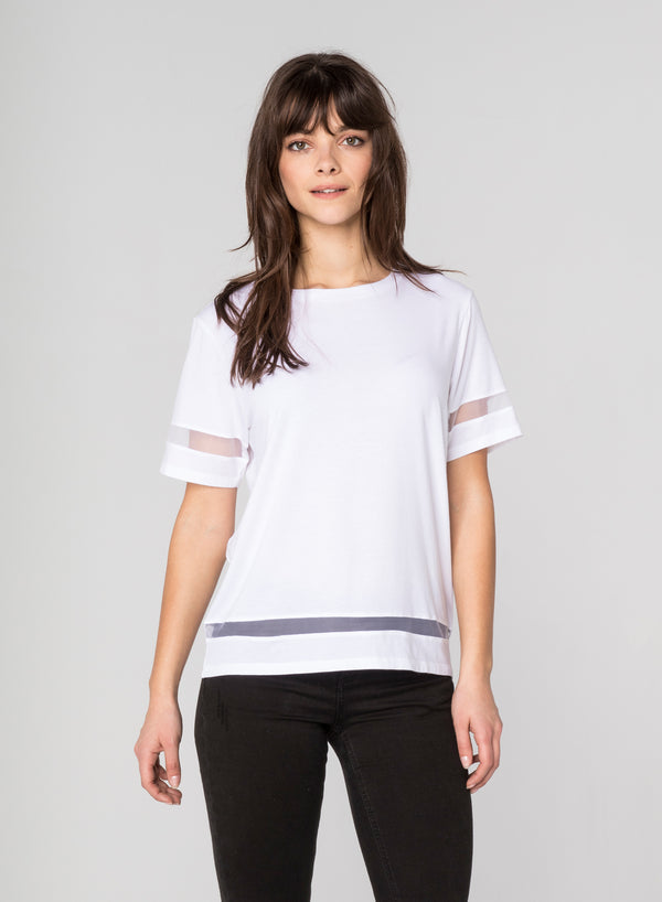 CHRLDR-TULLE INSERTS - Wide T-Shirt