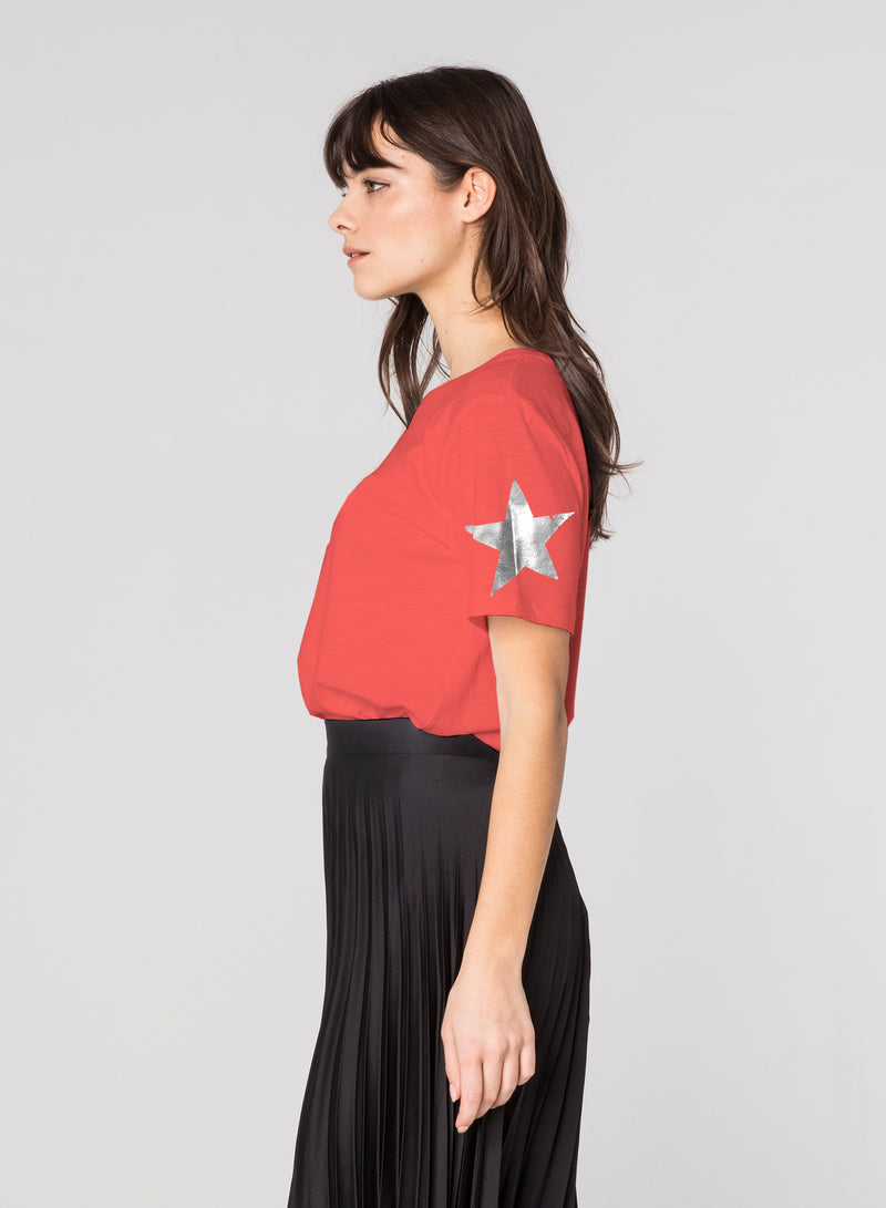 CHRLDR-SLEEVE STAR - Wide T-Shirt