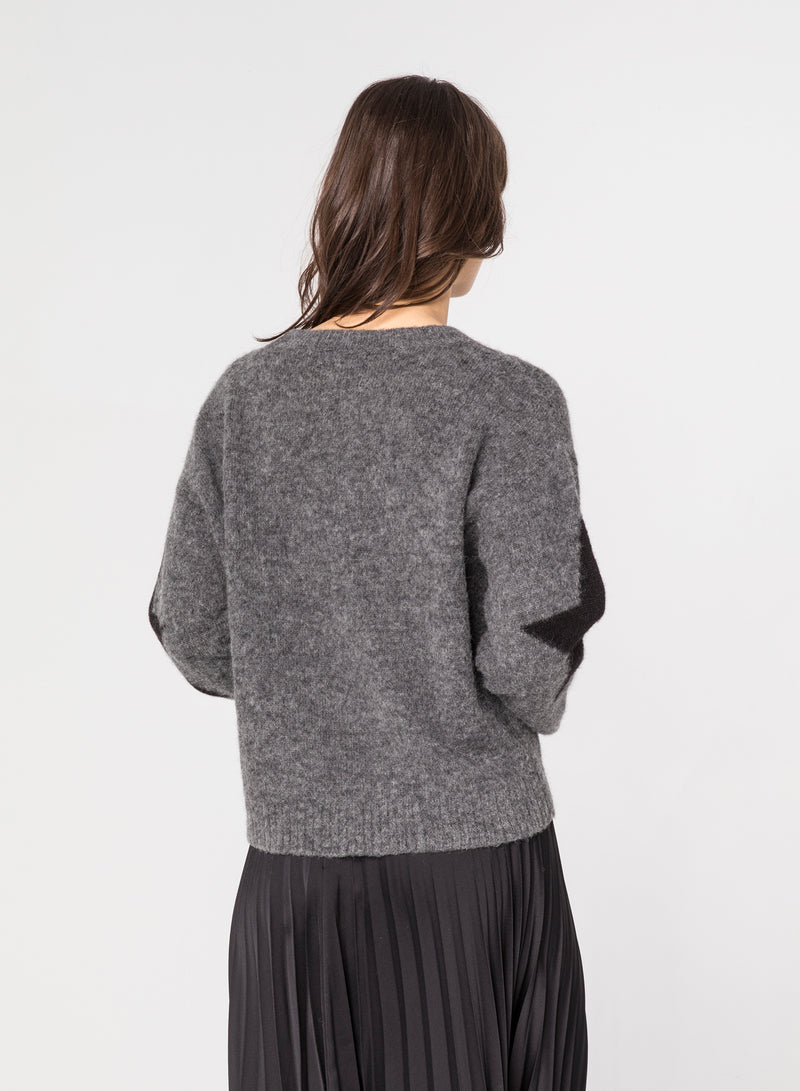 CHRLDR-SLEEVE STAR - Dropped Shoulder Sweater