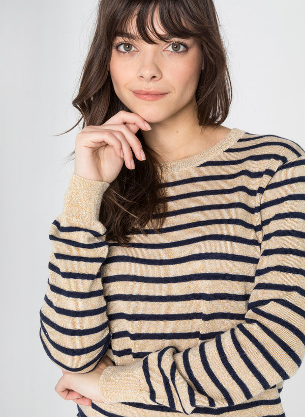 CHRLDR-MARINE STRIPES - Crew Neck Thin Sweater