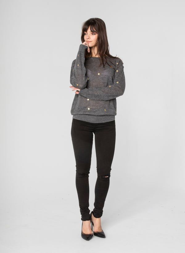 CHRLDR-GOLD STARS - Crew Neck Thin Sweater