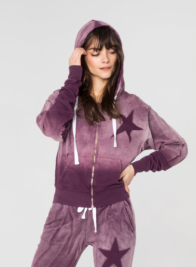 CHRLDR-ASYMMETRICAL STAR STENCIL - Kangaroo Zip-Up Hoodie