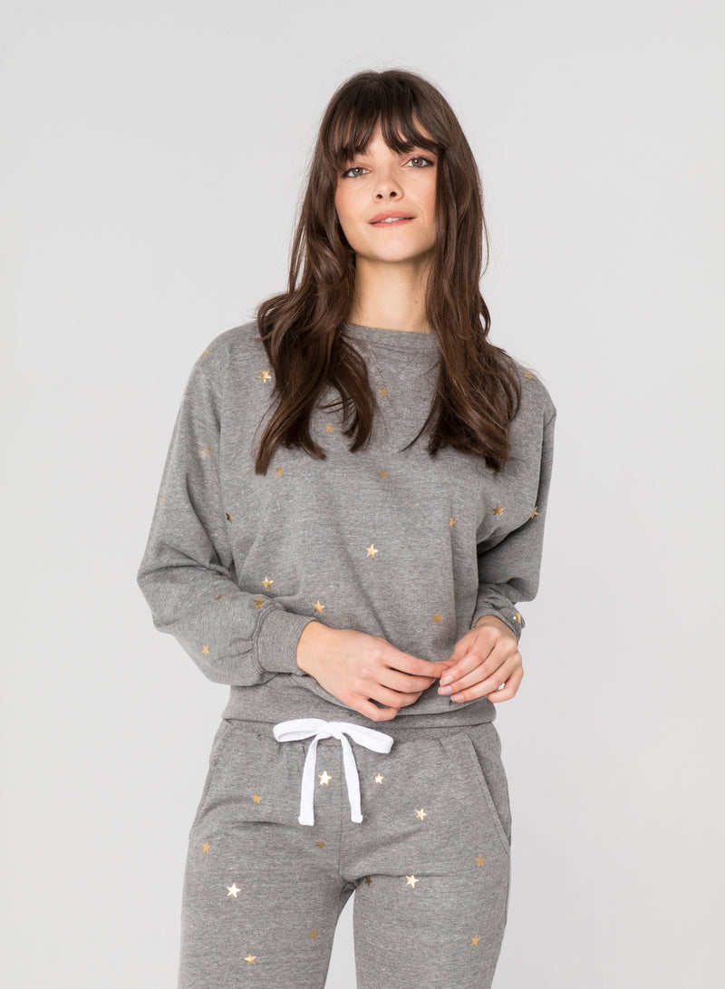 CHRLDR-GOLD SCATTERED STARS - Oversized Crew Neck Sweatshirt
