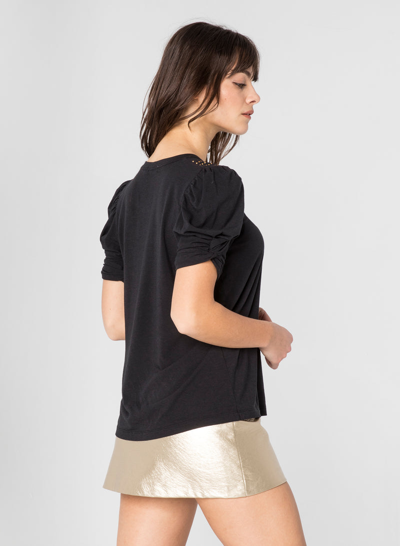 CHRLDR-STUDDED NECK - Puff Sleeve T-Shirt