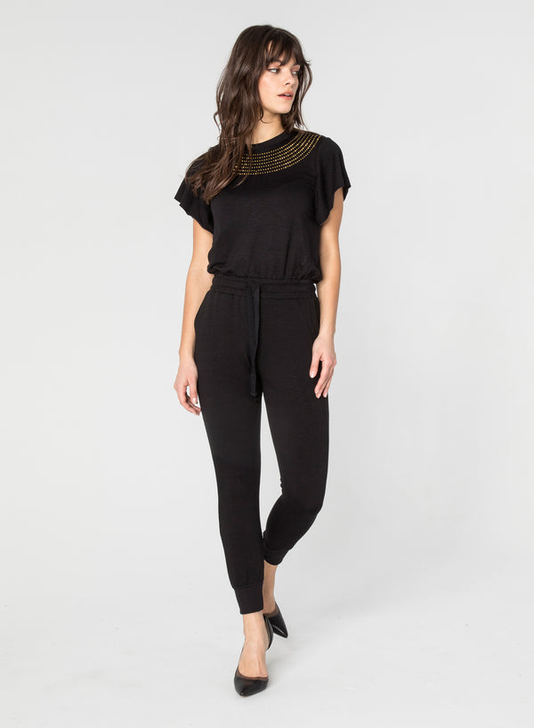 CHRLDR-STUDDED NECK - Open Sleeve Jumpsuit