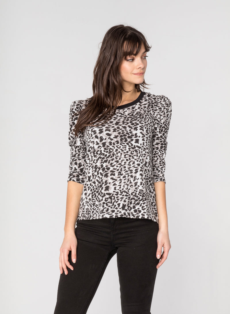 CHRLDR-GREY LEOPARD - Puff Long Sleeve T-Shirt