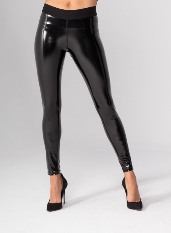 VICTORY LATEX - Ribbed Waist Leggings