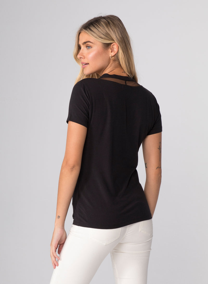 TULLE INSERTS V-NECK - V-Neck Fitted T-Shirt