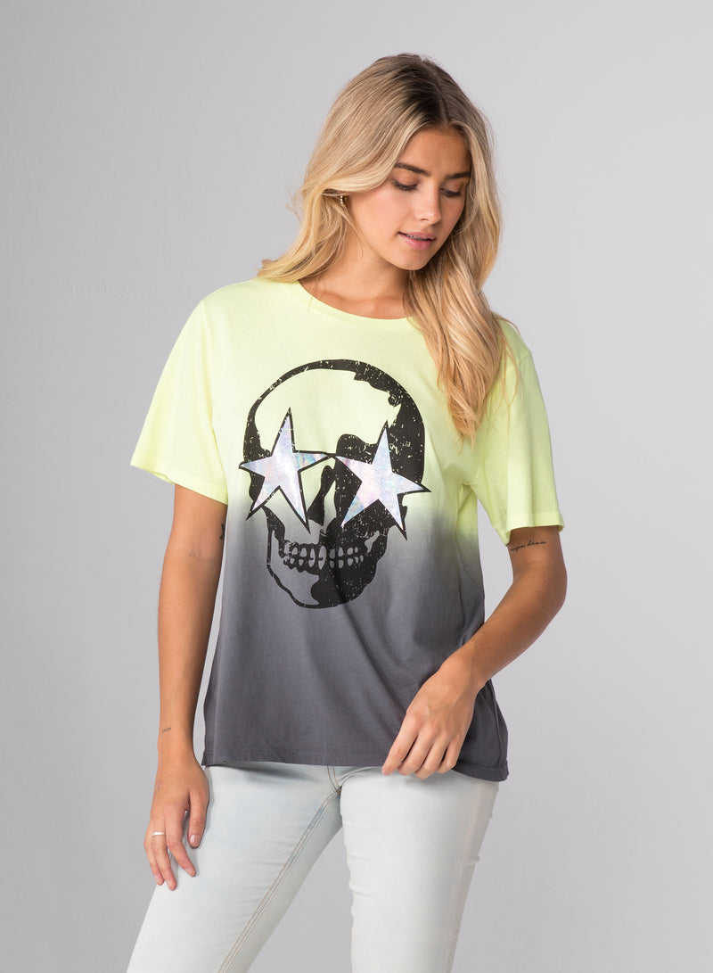 SKULL STAR DIP DYE - Wide T-Shirt