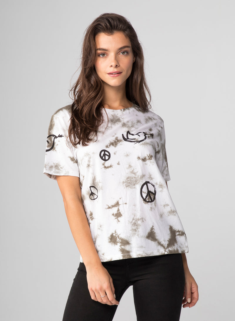 ALL OVER PEACE SIGNS - Wide T-Shirt