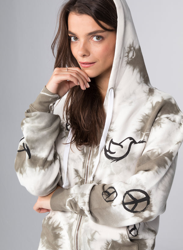 ALL-OVER PEACE SIGNS - Kangaroo Zip-Up Hoodie
