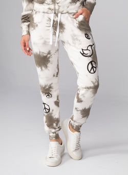 ALL-OVER PEACE SIGNS - Flat Pocket Sweatpants
