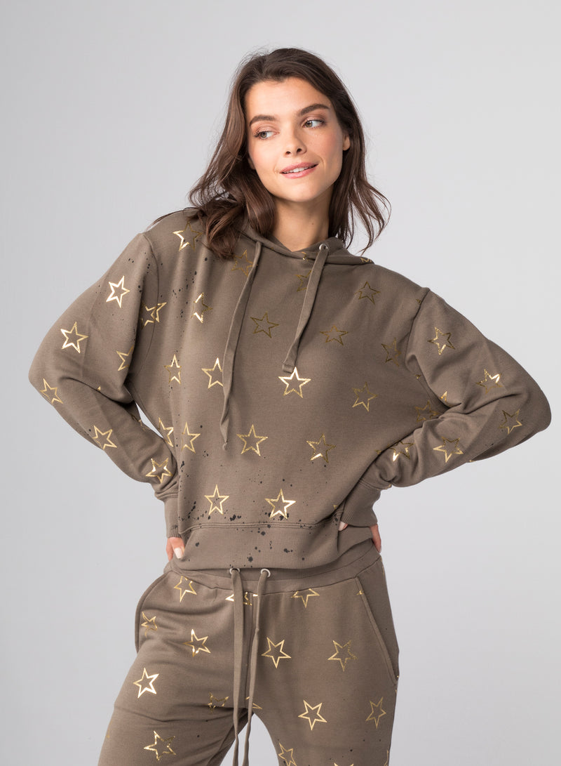 ALL-OVER STARS OUTLINE - Crop Pullover Hoodie