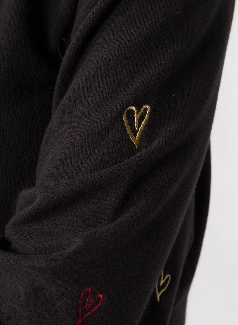ALL-OVER DOODLE HEARTS - Kangaroo Zip-Up Hoodie