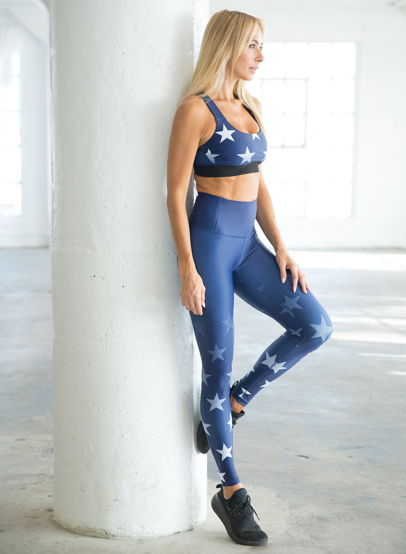 CHRLDR-FADED STARS — Support Sports Bra (Navy)