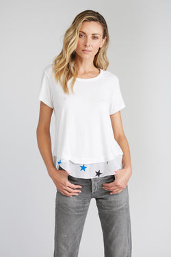 CHRLDR-Chiffon Stars - Mock Layer T-Shirt