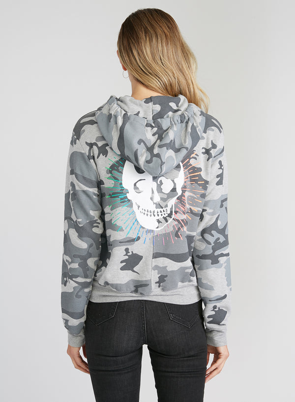 CHRLDR-Skull Radiates — High-Low Zip-Up Hoodie