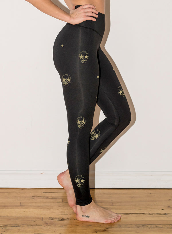 CHRLDR-SKULLS AND STARS - High Waisted Leggings