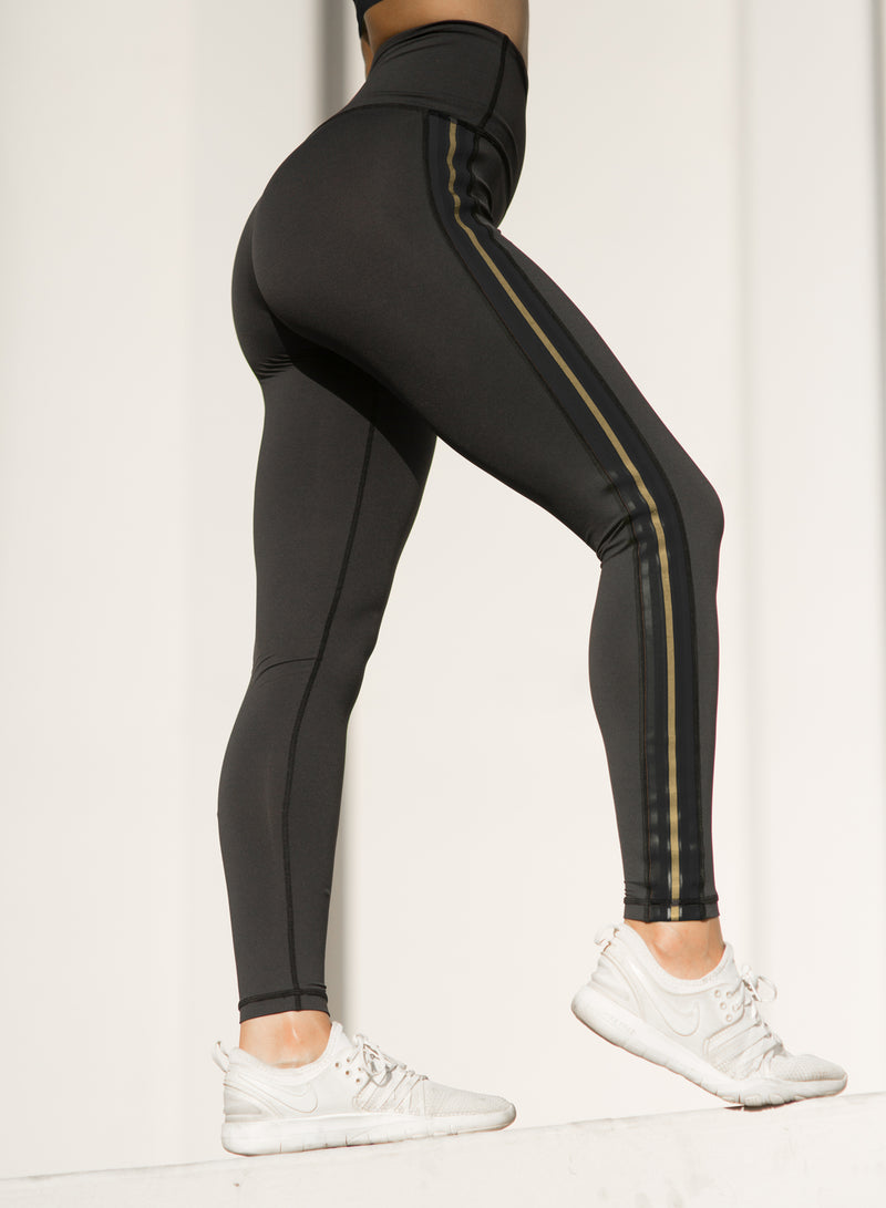 CHRLDR-TUXEDO — High Waisted Side Panel Leggings