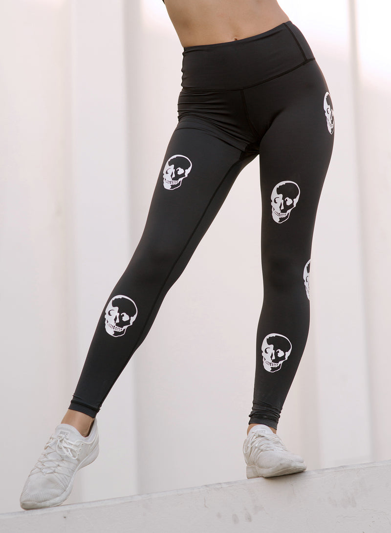 CHRLDR-SKULLS — High Waisted Leggings