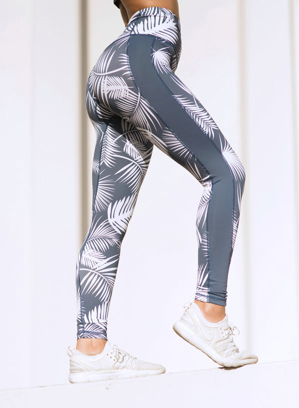CHRLDR-TROPICAL — High Waisted Side Panel Leggings