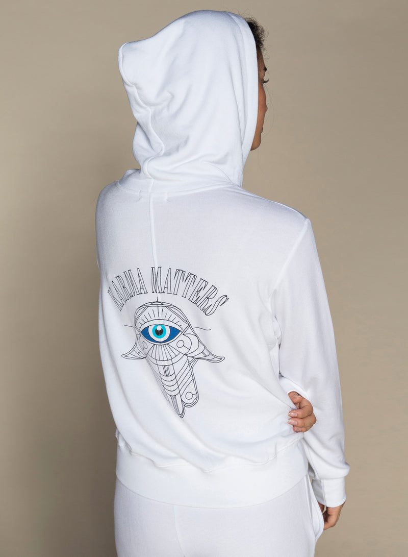 CHRLDR-KARMA MATTERS — High-Low Zip-Up Hoodie