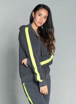CHRLDR-TUXEDO STRIPE — High-Low Zip-Up Hoodie