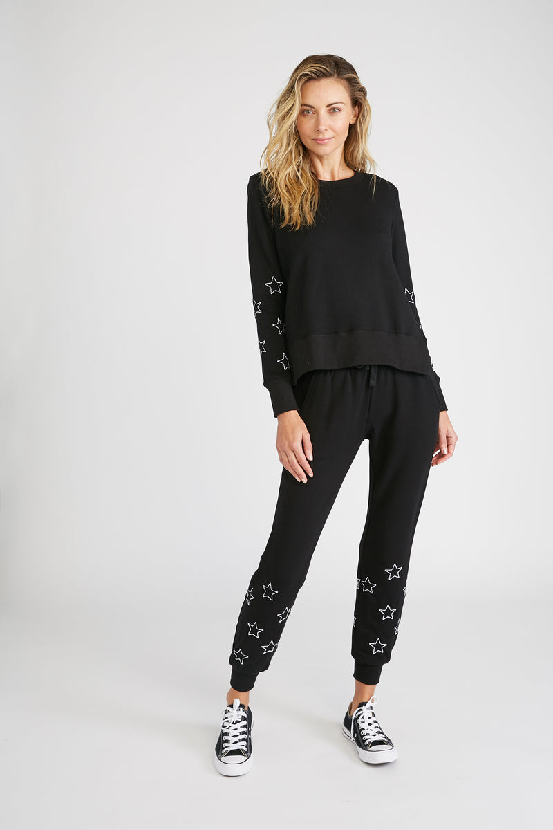 CHRLDR-Stitched Stars - Flat Pocket Sweatpants