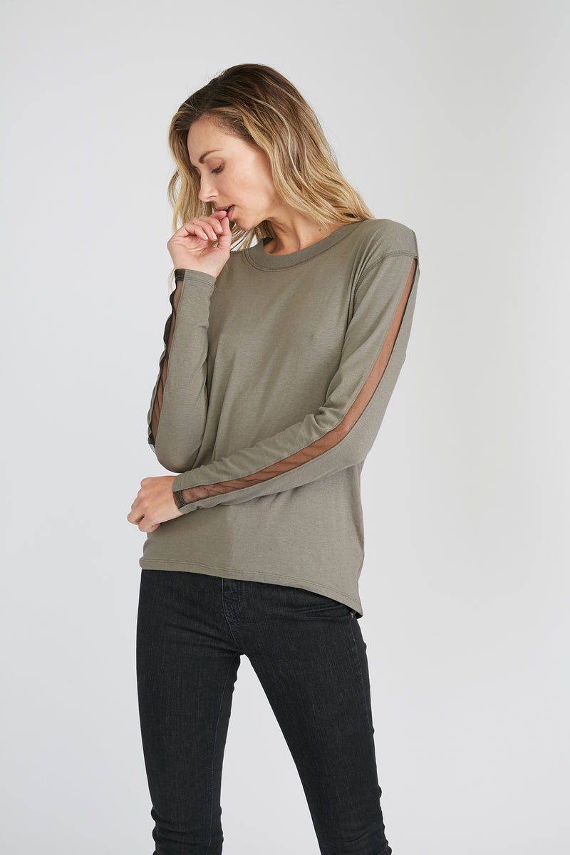 CHRLDR-Tulle Inserts - High-Low Long Sleeve T-Shirt