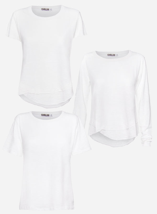 3-PACK WHITE Slub T-Shirts